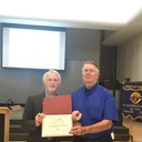 Henry Schonefeld is awarded his certificate for 50 yrs. of active service with the Knights